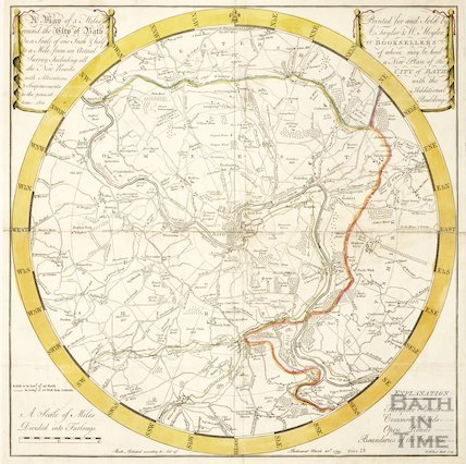 A Plan of 5 Miles Round the City of Bath 1800