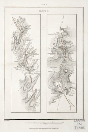 Strip map of road from Upper Wraxall to Bath and Odd Down 1821