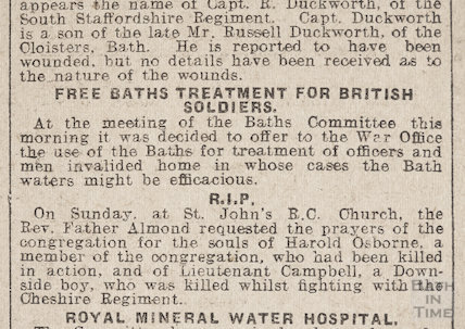 Free Baths Treatment for British Soldiers, 19 September 1914
