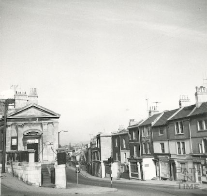 Claverton Street looking west from the bottom of Lyncombe Hill, April 1965.