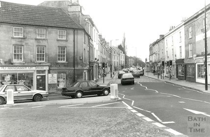 Widcombe Parade on the corner of Prior Park Road, c.1993