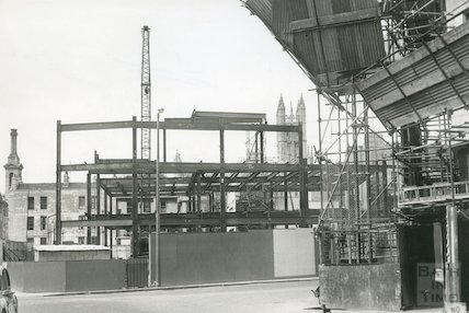 Marks and Spencer, southern elevation, Southgate, Bath during reconstruction, 1961
