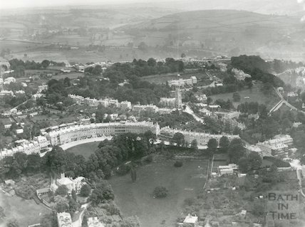 1920 Aerial Photograph of Bath featuring Lansdown Crescent, All Saints Chapel and St. Stephen's Church