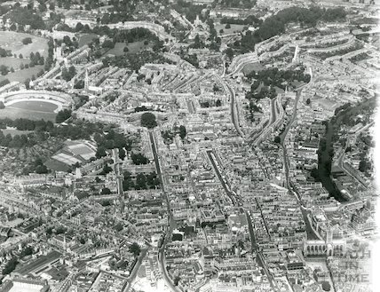 1935 Aerial Photograph of Bath featuring the Abby, St. Michael's Church, the Circus and the Crescent