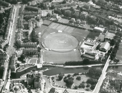 1974 Aerial Photograph of Bath from the East showing the Rec being used for cricket. The Sports Center is being built to the right