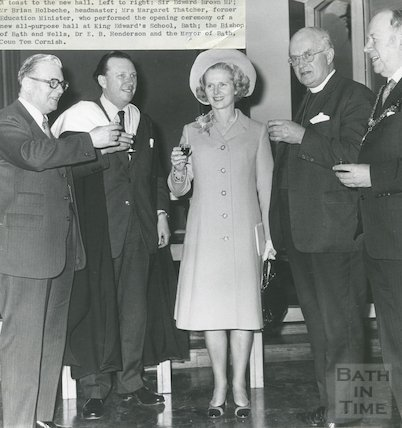 Margaret Thatcher after the opening of the new hall at King Edward's School on North Road, 11th, March, 1974