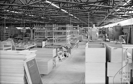 Inside the new Bath Cabinet Maker's works, Lower Bristol Road, Bath, c.1967