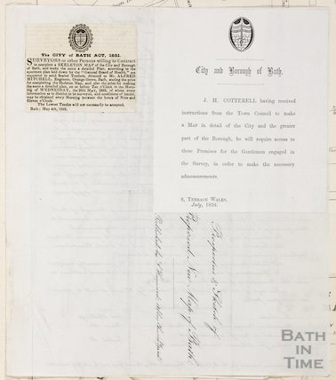 City and Borough of Bath note to allow J. H. Cotterell access to premises to carry out the Ordnance Survey 1852