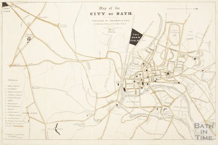 Map of the City of Bath showing the site of the Show Field off the Lower Bristol Road 1854