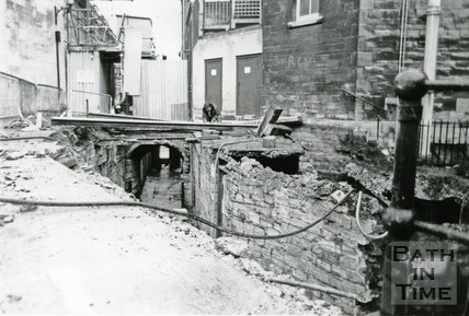 Boatstall Lane Excavations at modern level leading to the East gate, Bath, c.1980s