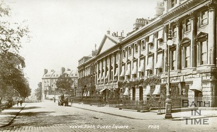 Postcard view of Queen Square, Bath, north side, c.1912