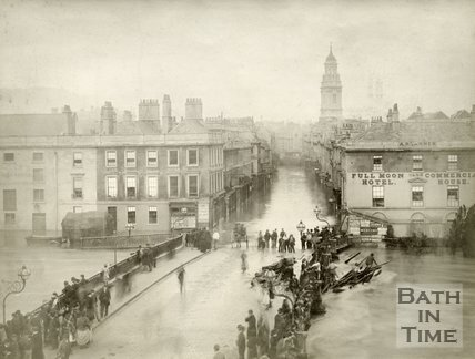 View over the Old Bridge of a flooded Southgate Street and River Avon during the Great Flood of October 1882
