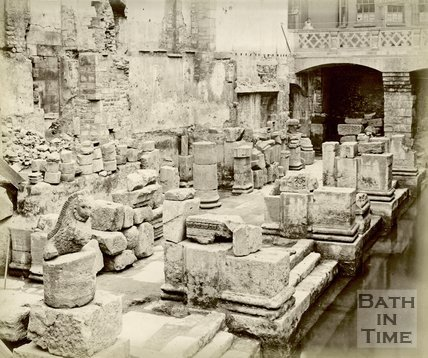 Roman artefacts shown at the newly excavated Roman Baths in Bath, c.1890