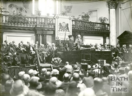 The Marquess of Bath receiving the Freedom of the City in the Guildhall, Bath, June 20 1929