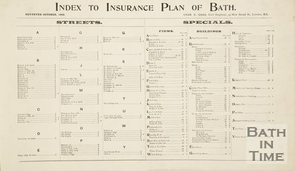 Index Goad Insurance Map of Bath 1924