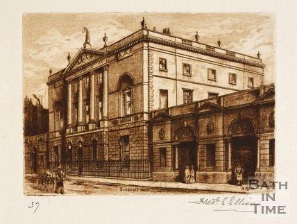 Etching of the Guildhall, Bath, 1886