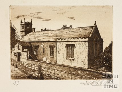 Etching of the church of St Mary Magdalene, Holloway, Bath, 1887
