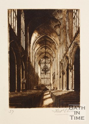 Etching of the interior of Bath Abbey, Bath, 1887
