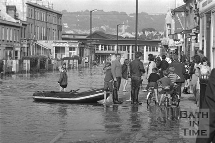 Floodwater on the Lower Bristol Road, Bath, 1968