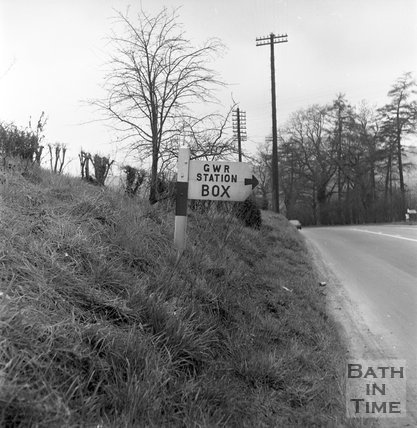 Sign to Box station, shown at the time of the station closure, 1965