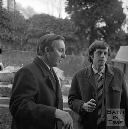 Council inspectors at the demolitionof the entrance to the Southcot Baptist Burial Ground, Bath, c.1970