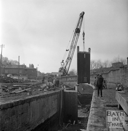 Demolition and clearance of the site of Waterloo Buildings, Bath 1969