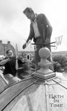 The top of the weather vane on Pulteney Bridge prior to being refitted, 3 June 1992