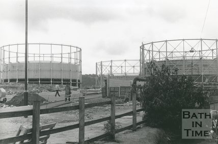 Windsor Bridge and gasometers, Bath, during construction, 1980