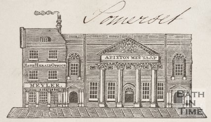The Pump Room and Bath Herald Office, c.1825. Bath.