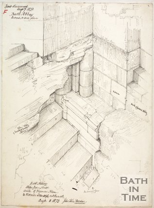 Pencil sketch of the Norman foundations of Bath Abbey as exposed August 11 1873