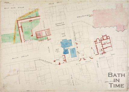 Plan of the area around Bath Abbey, 1865