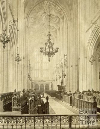 Interior of Bath Abbey looking towards the west door, c.1872