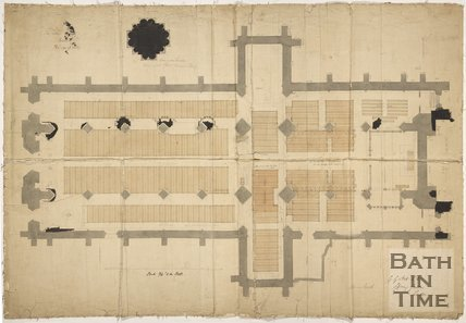 Plan of seating at Bath Abbey with dimensions, c.1865