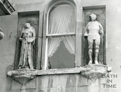 Statues of King Edgar (right) and King Osric, Bath Street, August 1973