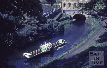 A paddle boat on the Kennet and Avon Canal, Bath c.1960