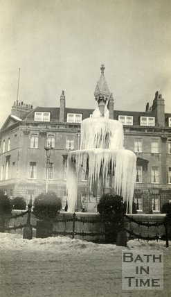The fountain in Laura Place, frozen, 1929