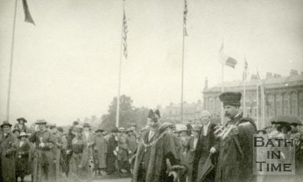 Mayor & Civic Officials at the Bath Pageant, Royal Crescent, Bath 1909