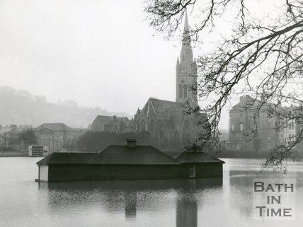 A view across the flooded cricket ground during the Bath Floods, 1960