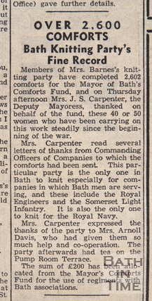 Bath knitting party's fine record, Jan 8, 1943