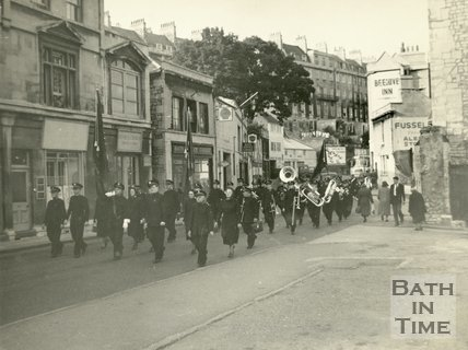 Salvation Army marching in Walcot Street, Bath c.1960