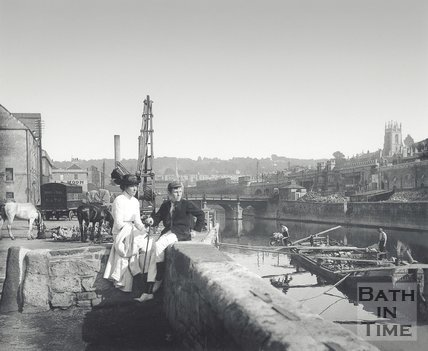 Watching the boats at Broad Quay, Bath c.1910