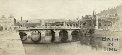 The Old Bridge and Full Moon Inn, Southgate Street, Bath c.1865