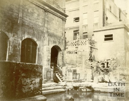 The western corner of the recently exposed Roman Great Bath, Bath c.1895