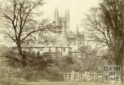 Bath Abbey and Bath Royal Literary and Scientific Institute viewed from across the river, Bath c.1880