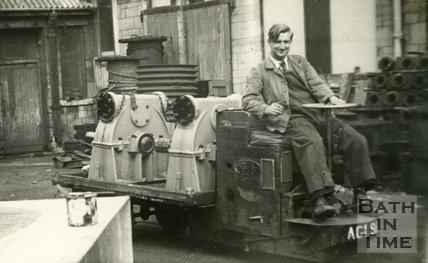 Driving a Douglas mechanical horse, thought to be at Stothert and Pitt's factory, Bath c.1950