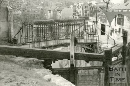 Lock gates and bridge on the Kennet and Avon Canal, Widcombe, Bath c.1950