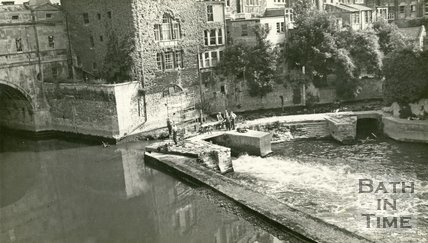 Repairs to the site of Bathwick Mill, Pulteney Weir, Bath c.1961
