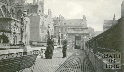 Visitors to the Roman Baths on the upper viewing level, Bath 1905