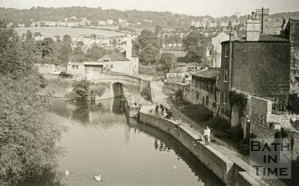 View of the River Avon towards Widcombe from the Halfpenny Bridge, Bath c.1965