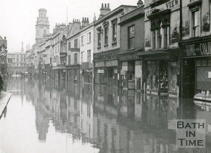 Southgate Street, Bath during the floods 1947